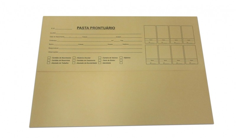 Pasta Prontuário Preço Jaraguá - Pasta Prontuário Escolar